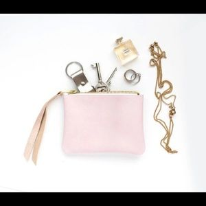 Small Pink Leather Pouch Purse